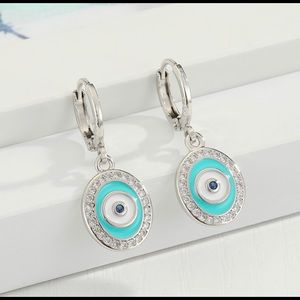 Earrings Evil Eye Zinc Alloy silver and blue color